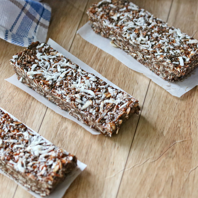 Breakfast Protein Bars Recipe - Chocolate Almond Chia Bars - MamaExercises.com