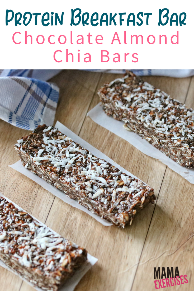 Breakfast Protein Bar Recipe - Chocolate Almond Chia Bars - MamaExercises.com